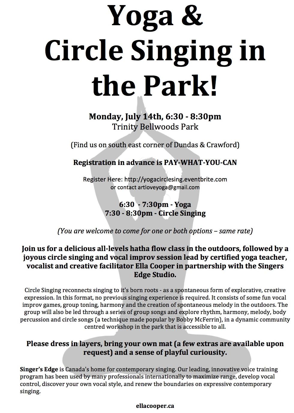 Yoga & Circle Singing In The Park