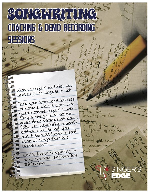 songwriting coaching and recording for singing hobbyists and performers